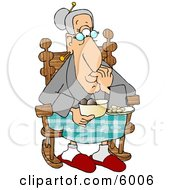 Grandma Eating Food In Her Rocking Chair Clipart Picture