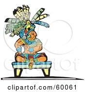Mayan King Seated On A Platform