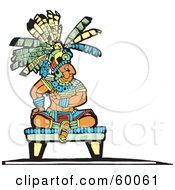 Royalty Free RF Clipart Illustration Of A Mayan King Seated On A Platform by xunantunich