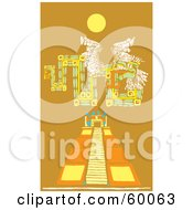 Mayan Design Over A Pyramid Under The Sun On Orange