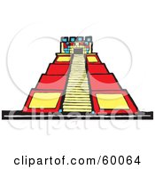 Royalty Free RF Clipart Illustration Of A Colorful Stepped Mayan Pyramid by xunantunich