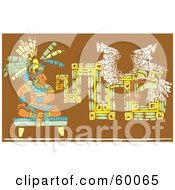 Royalty Free RF Clipart Illustration Of A Seated Mayan King Near A Tribal Mural