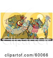 Royalty Free RF Clipart Illustration Of Mayan Warriors Engaged In A Battle