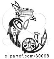 Royalty Free RF Clipart Illustration Of A Black And White Tribal Coyote Curving