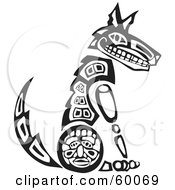Royalty Free RF Clipart Illustration Of A Black And White Tribal Coyote Sitting Upright by xunantunich