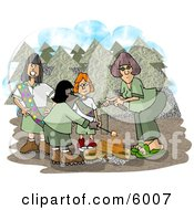 Girlscouts Standing Beside A Campfire In The Forest Clipart Picture