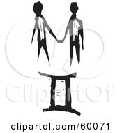 Royalty Free RF Clipart Illustration Of A Black And White Carved Gemini And Zodiac Symbol