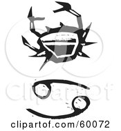 Royalty Free RF Clipart Illustration Of A Black And White Carved Cancer And Zodiac Symbol