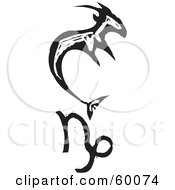 Royalty Free RF Clipart Illustration Of A Black And White Carved Capricorn And Zodiac Symbol