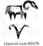 Royalty Free RF Clipart Illustration Of A Black And White Carved Aries And Zodiac Symbol
