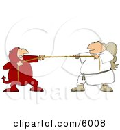 Tug Of War Battle Between Good And Evil Devil And Angel Clipart Picture by Dennis Cox