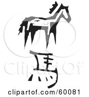 Royalty Free RF Clipart Illustration Of A Black And White Carved Horse And Chinese Zodiac Symbol