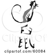 Royalty Free RF Clipart Illustration Of A Black And White Carved Rat And Chinese Zodiac Symbol