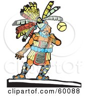 Royalty Free RF Clipart Illustration Of A Native Chief Playing A Ball Game by xunantunich