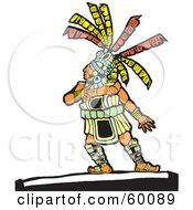 Royalty Free RF Clipart Illustration Of A Native Man Touching His Chest And Looking Up To The Left by xunantunich