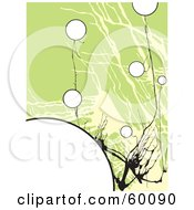 Royalty Free RF Clipart Illustration Of An Abstract Green Cracking Background With Black Branches And White Orbs