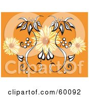 Royalty Free RF Clipart Illustration Of An Orange Background With Black And White And Orange Flowers by xunantunich