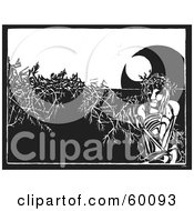 Royalty Free RF Clipart Illustration Of A Skinny Black And White Christ Sitting In Plants by xunantunich