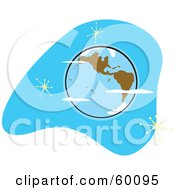 Royalty Free RF Clipart Illustration Of A Retro Planet Earth With Brown Continents On Blue With Stars by xunantunich