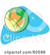 Royalty Free RF Clipart Illustration Of A Retro Planet Mars On Blue With Stars
