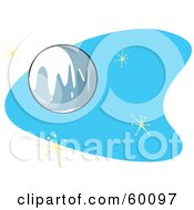 Royalty Free RF Clipart Illustration Of A Retro Planet Pluto On Blue With Stars by xunantunich