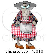 Grandma Carrying A Cooking Pot Full Of Fresh Red Barriers Clipart Picture
