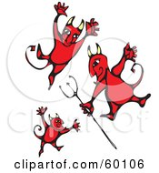 Royalty Free RF Clipart Illustration Of Three Evil Red Devils Dancing On White