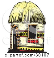 Royalty Free RF Clipart Illustration Of A Tribal Hut With Designs And A Straw Roof by xunantunich