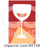 Royalty Free RF Clipart Illustration Of A White Wine Glass Over A Divided Orange And Red Background