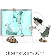 Apprentice Glazier Carrying A Big Glass Window Clipart Picture by Dennis Cox