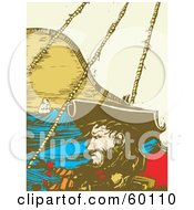 Royalty Free RF Clipart Illustration Of Blackbeard Sailing On A Ship At Sea by xunantunich