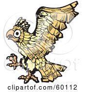 Royalty Free RF Clipart Illustration Of A Flying Yellow Eagle Design by xunantunich