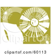 Royalty Free RF Clipart Illustration Of Abstract White Dandelion Flowers On Green