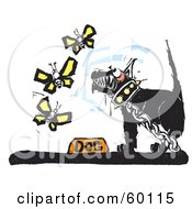 Royalty Free RF Clipart Illustration Of A Chained Black Dog Growling At Butterflies by xunantunich