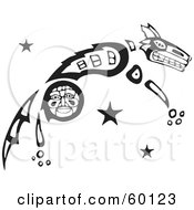 Royalty Free RF Clipart Illustration Of A Black And White Tribal Coyote Leaping by xunantunich