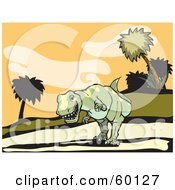 Royalty Free RF Clipart Illustration Of A Tyrannosaurus Rex Stalking Down A Hillside