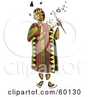 Royalty Free RF Clipart Illustration Of A Tribal Man Holding A Magic Wand by xunantunich