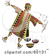Royalty Free RF Clipart Illustration Of A Tribal Man Painter With A Brush And Bowls Of Paint by xunantunich