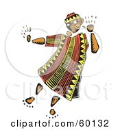 Royalty Free RF Clipart Illustration Of A Tribal Man Cupping His Ear And Listening by xunantunich
