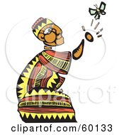 Royalty Free RF Clipart Illustration Of A Kneeling Tribal Man Reaching For A Butterfly by xunantunich