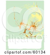 Royalty Free RF Clipart Illustration Of An Abstract Beige Pollack Inspired Background Of Orange Brown And Yellow Splats With A White Text Box