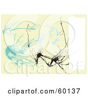 Royalty Free RF Clipart Illustration Of An Abstract Beige Pollack Inspired Background Of Blue And Black Splats With A White Text Box