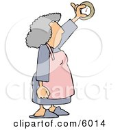 Housewife Adjusting The Temperature On A Thermostat Clipart Picture