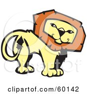 Royalty Free RF Clipart Illustration Of A Confident Lion Looking Back by xunantunich