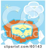 Royalty Free RF Clipart Illustration Of A Lion Face Thinking Of A Martini Over A Blue Starry Background