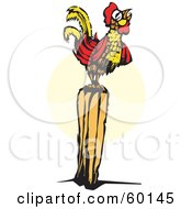 Royalty Free RF Clipart Illustration Of A Crowing Rooster On A Post by xunantunich