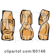 Royalty Free RF Clipart Illustration Of A Digital Collage Of Three Polynesian Moai Carvings by xunantunich