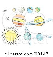 Royalty Free RF Clipart Illustration Of A Digital Collage Of Retro Planets And Stars On White by xunantunich