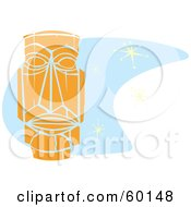 Royalty Free RF Clipart Illustration Of An Orange Tiki Carving In Retro Style Over Blue With Stars