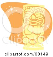 Royalty Free RF Clipart Illustration Of A Yellow Tiki Carving In Retro Style Over Orange With Stars
